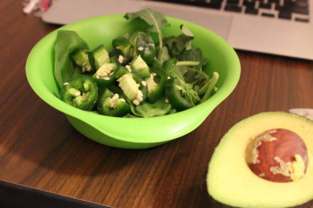 kale, basil, jalepeño & avocado salad