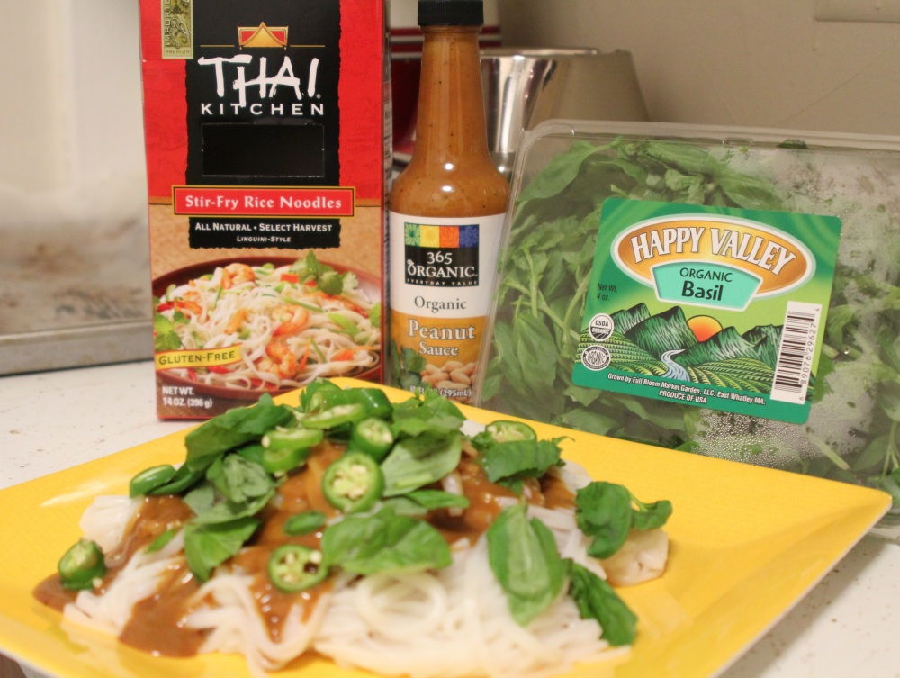 rice noodles, basil & peanut sauce